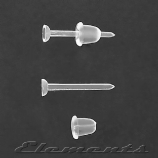 Clear Plastic Stud Stems With Soft Plastic Backs BM078